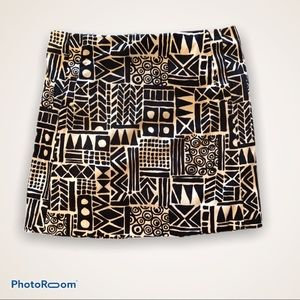 J Crew Tribal Print Mini Skirt Black White 2
